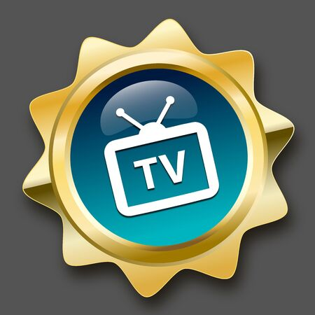 televison: Tv reception seal or icon with tv symbol. Glossy golden seal or button with turquoise color.