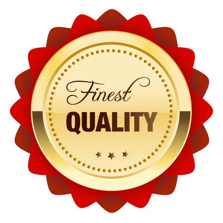 finest: Finest quality seal or icon. Glossy golden seal or button with stars and red color. Illustration