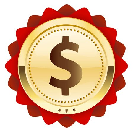 us currency: Profit seal or icon with dollar symbol. Glossy golden seal or button.