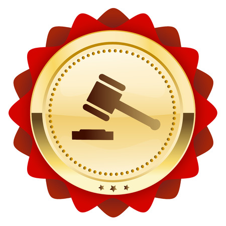 courthouse: Justice seal or icon with hammer symbol. Glossy golden seal or button.