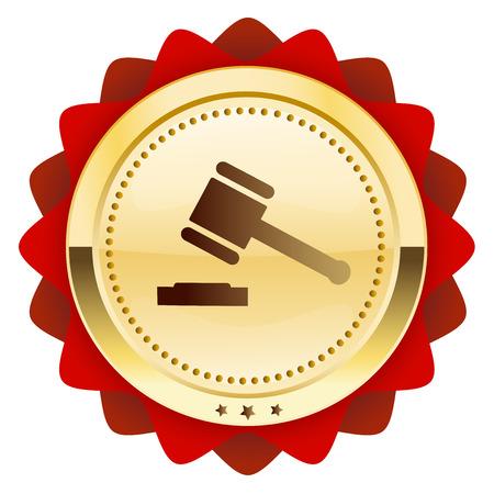 Rechtvaardigheidszegel of pictogram met hamersymbool. Glanzende gouden zegel of knop. Stock Illustratie