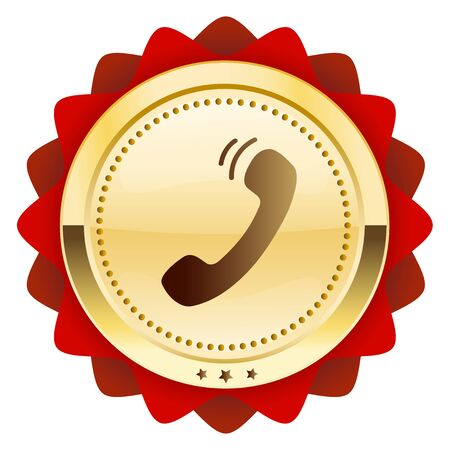 phonecall: Communication seal or icon with telephone symbol. Glossy golden seal or button.