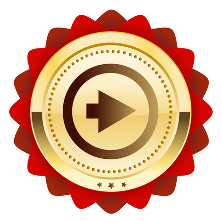 shiny gold: click forward seal or icon with arrow symbol. Glossy golden seal or button.