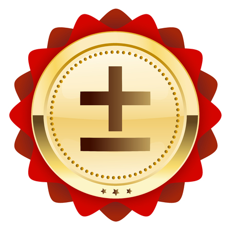 addition: Mathematical seal or icon. Glossy golden seal or button. Illustration