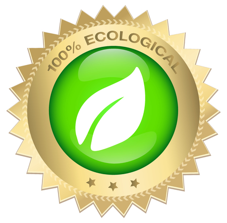 vecor: 100% ecological guaranteed seal or icon with symbol leave. Glossy golden seal or button with stars.