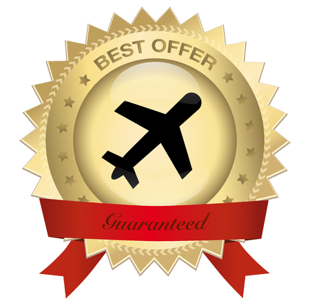 Best offer seal or icon with airplane symbol. Glossy golden seal with stars. Illustration