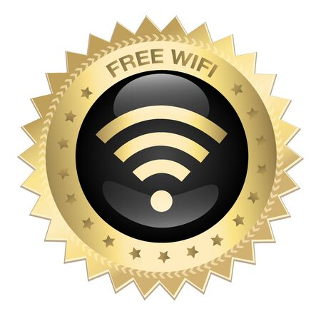 best security: Free Wifi guaranteed seal or icon with Wifi symbol. Glossy golden seal or button with stars.