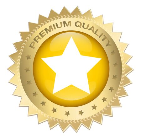 Premium quality seal or icon with star symbol. Glossy golden seal or button with stars. Illustration