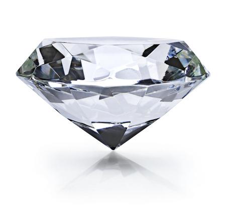 Beautiful shiny diamond, isolated on white background. Clear or transparent diamond, close-up shot.