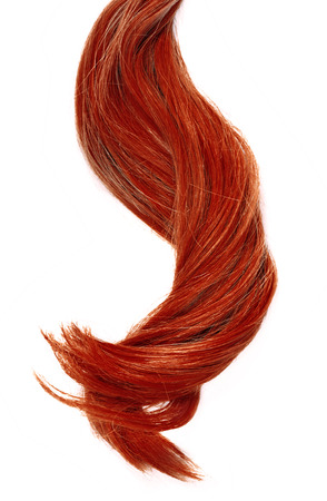 Beautiful red hair, isolated on white background. Long red hair tail, curly and healthy hair, design element or hair cut theme.
