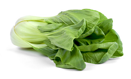 Fresh pak choi cabbage or chinese cabbage, isolated on white background. Fresh, green vegetable, close-up shot. Healthy lifestyle theme, kitchen scene.