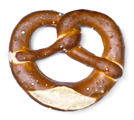 Delicious pretzel with salt, german food. Pretzel, traditional bavarian food, isolated on white background.