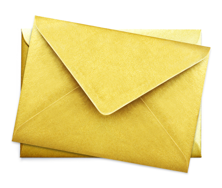 Golden envelopes with copy space, isolated on white background. Shiny gold envelopes, greeting card or invitation mailing.