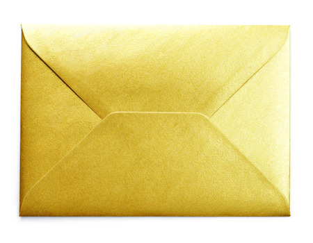 Golden envelope with copy space, isolated on white background. Shiny gold envelope, greeting card or invitation mailing. 版權商用圖片