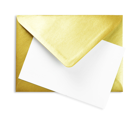 Golden envelope and white card with copy space, isolated on white background. Shiny gold envelope, greeting card or invitation mailing.