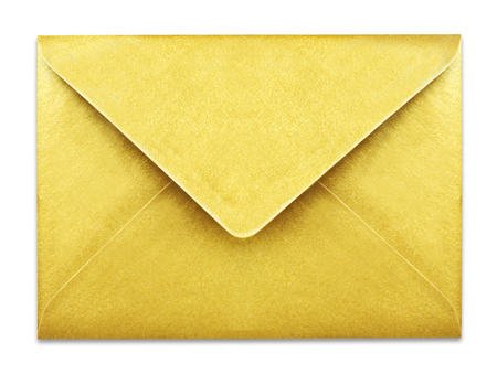 Golden envelope with copy space, isolated on white background. Shiny gold envelope, greeting card or invitation mailing. Фото со стока
