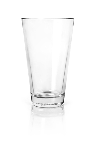 Empty drinking glass, isolated on white background. Glass cup or dish ware with copy space.