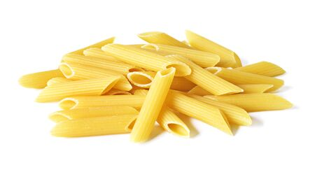 Delicious pasta or penne noodles, isolated on white background. Top view scene, healthy eating or healthy lifestyle. Penne pasta or macaroni, italian cuisine.