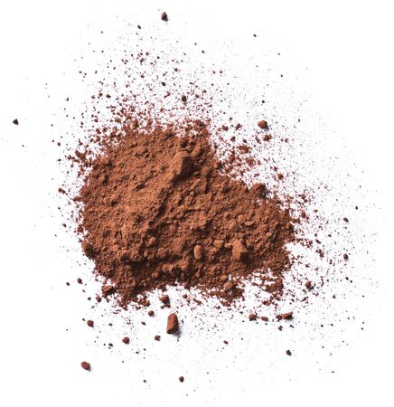 Cocoa or coffee powder, isolated on white background. Cocoa splash, top view or high angle shot.
