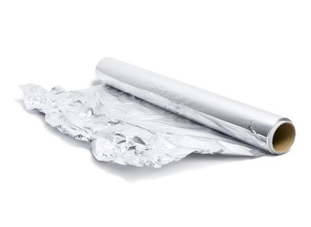 Tinfoil isolated on white background. Isolated object of aluminum foil or silver paper.