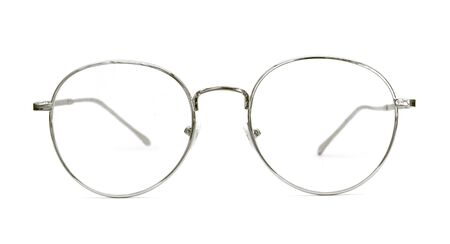 Modern silver nerd glasses with metal frame. Isolated object on white background. Standard-Bild
