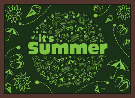 wave tourist: Vector illustration with hand drawn summer elements, symbol and object