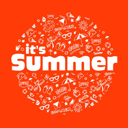 Vector illustration with hand drawn summer elements, symbol and object