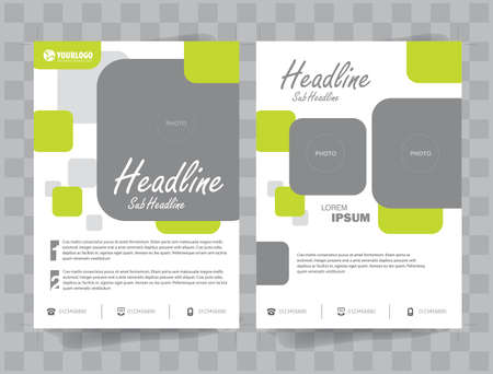 publisher: Flyer Brochure Template with Square Color  elements Illustration