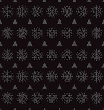 blizzards: Seamless pattern of snowflakes on a Black Background Illustration