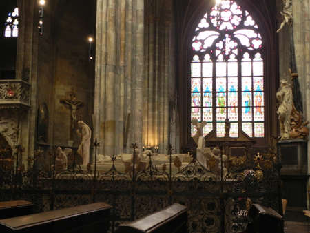arhitecture: Scenes from the Bible in cathedral in Prague