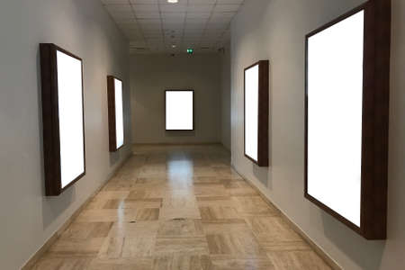 Multiple empty blank poster screens at a hallway ideal for digital kiosk visual  communication, video wall, signage and  copy space Stockfoto