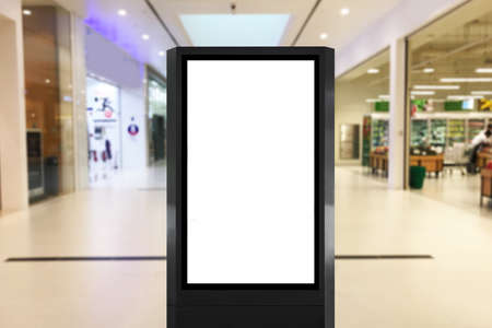 Blank information board light box ideal for mock up poster, concept advertisement, digital signage and video display inside mall near grocery store