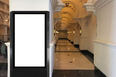 Advertisement space mock up at shopping mall ideal for digital signage, large poster and video wall ads