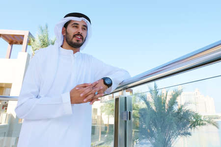 Handsome attractive Local Arabic business man at an outdoor location during daytime