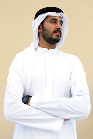 Muslim Arab Man crossed arms on isolated background