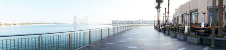 The Pointe Palm Jumeirah in wide panoramic view 에디토리얼