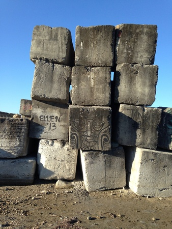 Stones wall balanced at the shore of Zambalez beach Philippines