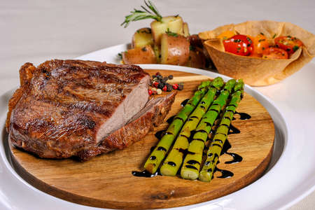 meat alternatives: Beef steak with vegetables and bamboo stalks