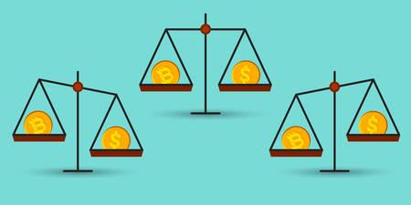 Bitcoin gegen Dollar auf einem Saldo