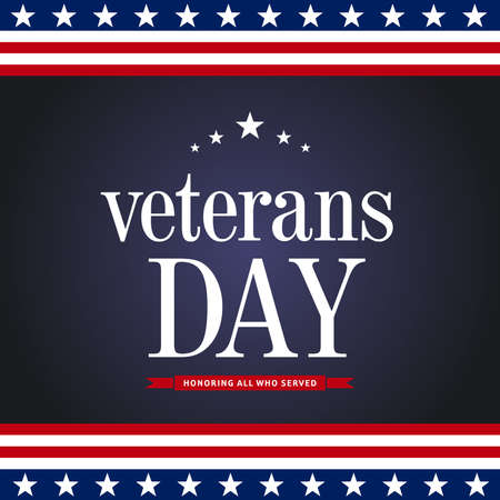 Veterans day. Honoring all who served. November 11 holiday background. Greeting card in vector. Typography illustration Vettoriali