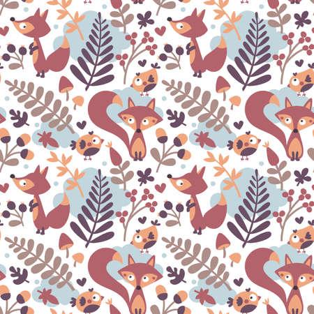 wild berry: Seamless cute autumn pattern made with fox, bird, flower, plant, leaf, berry, heart, friend floral nature acorn Rowan mushroom wild cloud