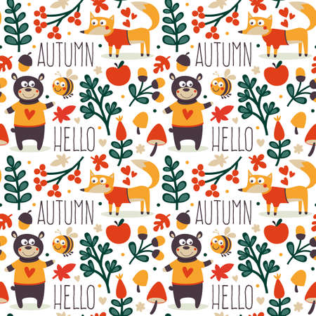 wild berry: Seamless cute animal autumn pattern made with bear, fox, bee, flower, plant, leaf, berry, heart, friend, floral nature berry acorn mushroom hello wild
