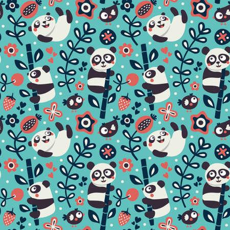 wild berry: Seamless cute pattern with Panda and bamboo, plants, jungle, bird, berry, flowers wild wildlife