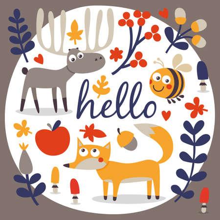 wild berry: Cute autumn set with fox, deer, moose, bee, flower, plant, leaf, berry, heart friend floral nature berry acorn mushroom hello wild woodland