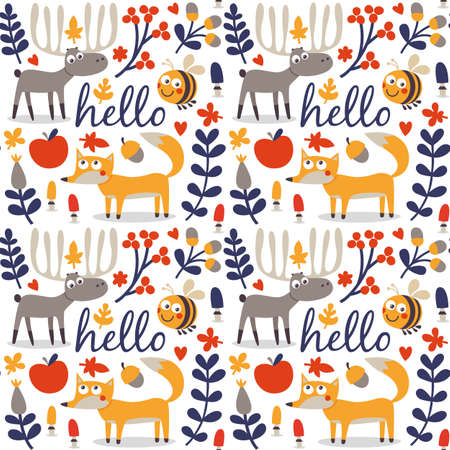 wild berry: Seamless cute animal autumn pattern made with fox, deer, moose, bee, flower, plant, leaf, berry, heart, friend floral nature berry acorn mushroom hello wild