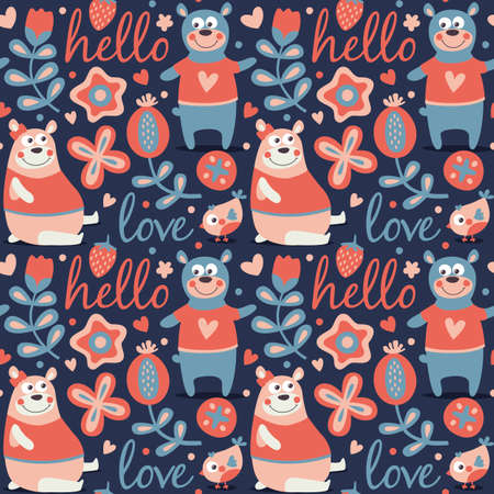 wild berry: Seamless cute animal autumn pattern made with bear, love, bee, flower, plant, leaf, berry, heart, friend, floral nature berry acorn mushroom hello wild Illustration