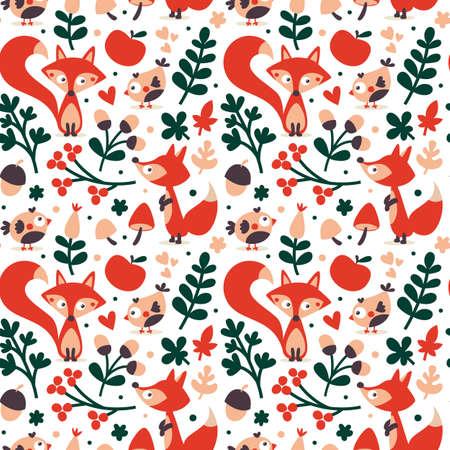 wild berry: Seamless cute autumn pattern made with fox, bird, flower, plant, leaf, berry, heart, friend floral nature acorn Rowan mushroom wild
