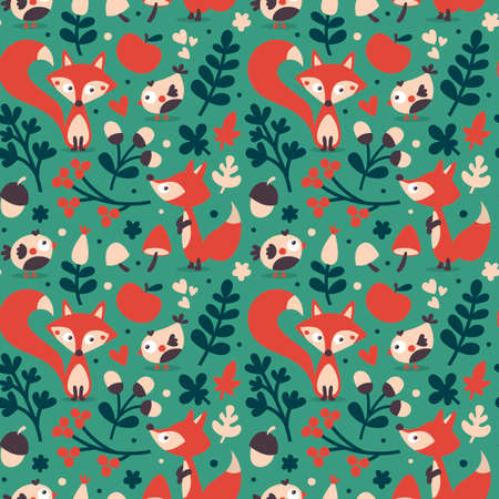 wild berry: Seamless cute autumn pattern made with fox, bird, flower, plant, leaf, berry, heart, friend floral nature acorn mushroom wild
