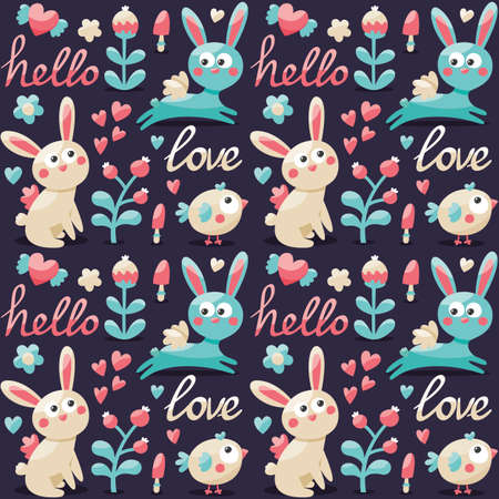 Seamless cute pattern made with rabbit, hare, flowers, animals, plants, hearts, love, hello, berry Valentine's day lovers couple postcard wild
