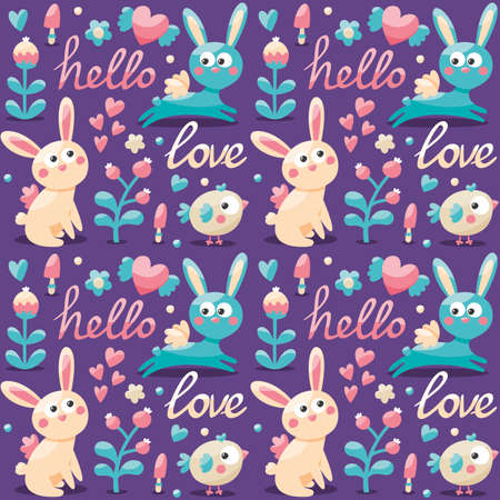 wild berry: Seamless cute pattern made with rabbit, hare, flowers, animals, plants, hearts, love, hello, berry Valentines day lovers couple postcard wild
